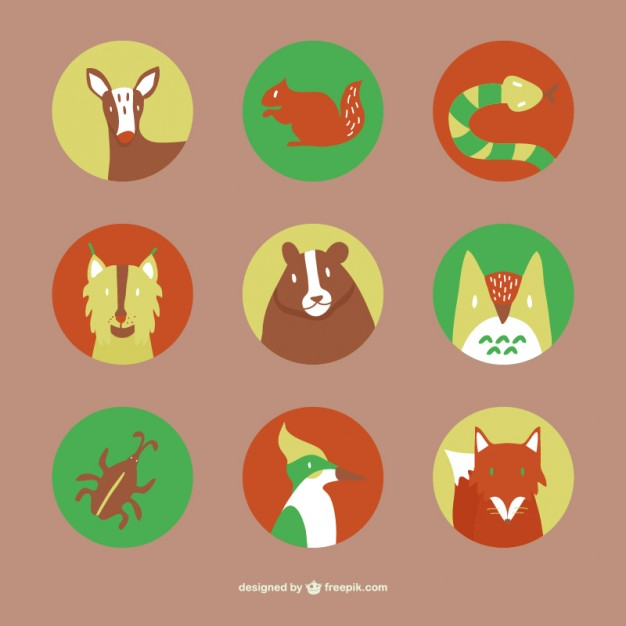 Forest Animals Flat Icons Set Free Vector
