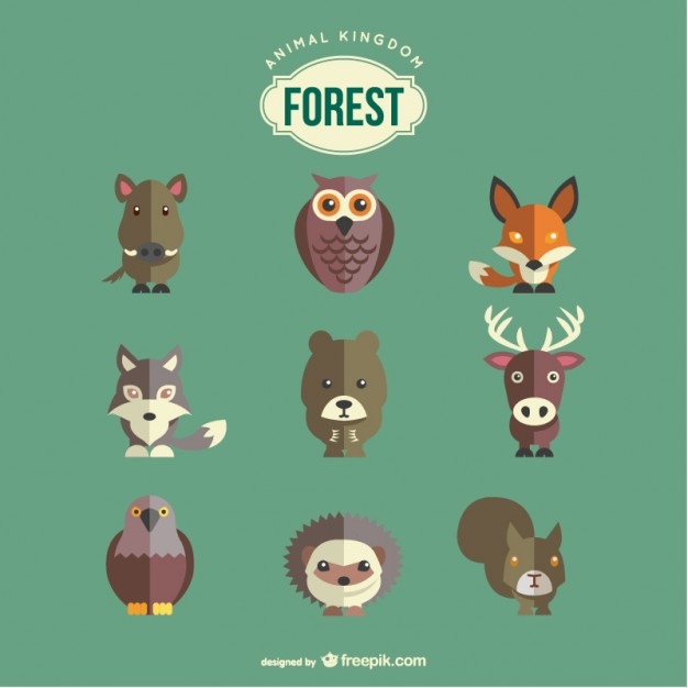 Forest Animals Set Free Vector