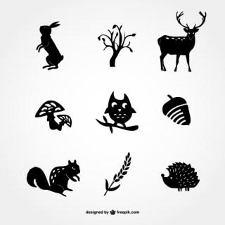 Forest Silhouette Icons Free Vector