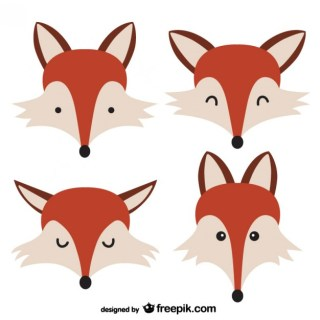 Fox Faces Free Vector