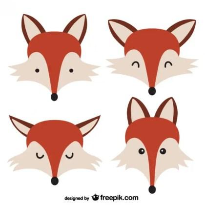 Fox Faces Free Vector