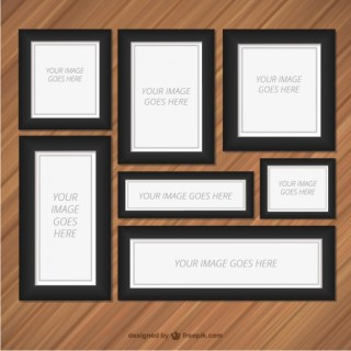Frames Set on Wood Wall Free Vector