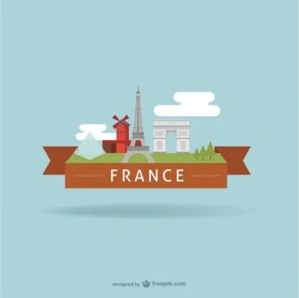 France Tourist Landmarks Free Vector