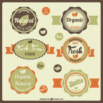 Fresh Eco Stickers Free Vector