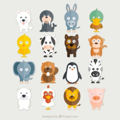 Funny Animals Collection Free Vector