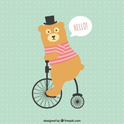 Funny Bear Riding a Bycicle Free Vector