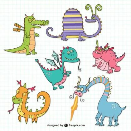 Funny Dragons Drawings Free Vector