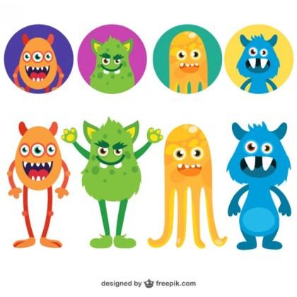 Funny Monsters Avatars Free Vector