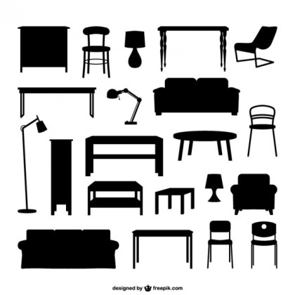 Furniture Silhouettes Free Vector