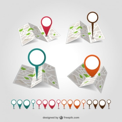 Geolocation Map Pin Set Free Vector
