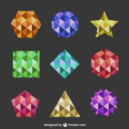Geometric Shapes Abstract Logos Free Vector