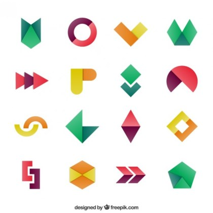 Geometric Shapes in Colorful Style Free Vector