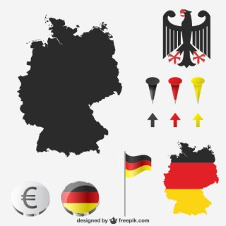 German Map and National Colors Free Vector