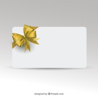 Gift Card Template with Golden Ribbon Free Vector