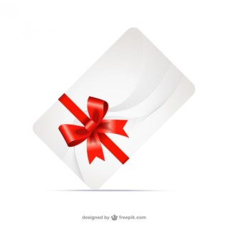 Gift Card with Red Ribbon Free Vector