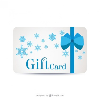 Gift Card with Snowflakes Free Vector