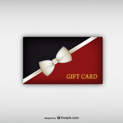 Gift Card with White Ribbon Free Vector
