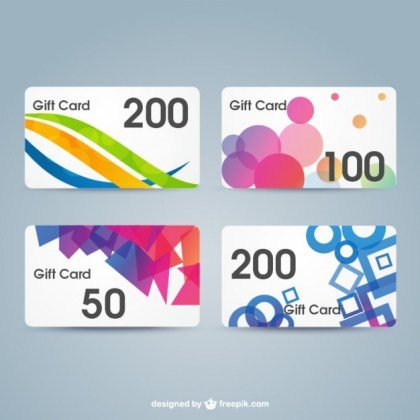 Gift Cards Set Free Vector