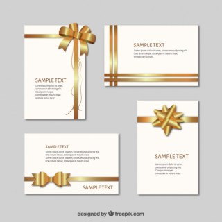 Gift Cards with Golden Ribbons Free Vector