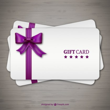 Gift Cards with Purple Ribbon Free Vector
