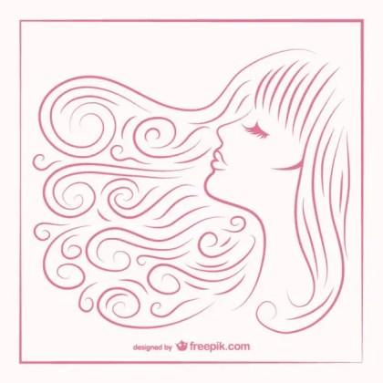 Girls Hair Sketch Free Vector