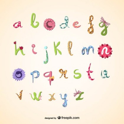 Girly Alphabet Free Vector