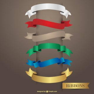 Glossy Multicolored Ribbons Design Free Vector
