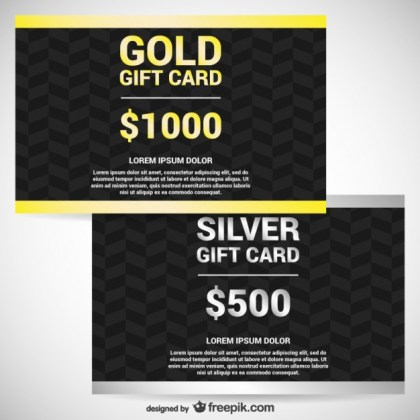 Gold and Silver Gift Cards Free Vector