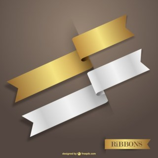 Gold and White Ribbons Free Vector