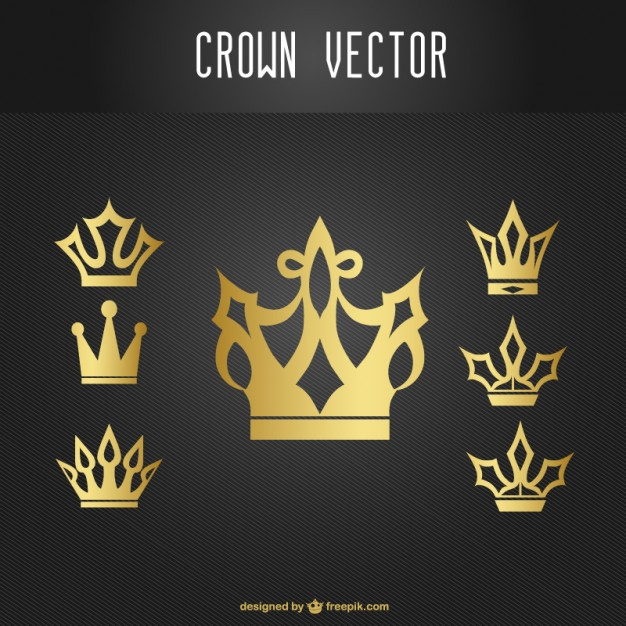 Gold Crown Icons Set Free Vector