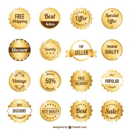 Gold Premium Badges Collection Free Vector
