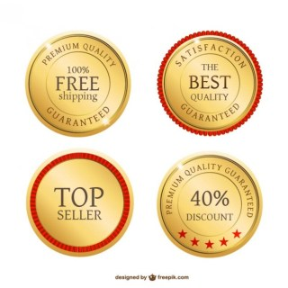 Golden Metal Badges Free Vector