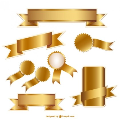 Golden Ribbons and Badges Graphics Free Vector