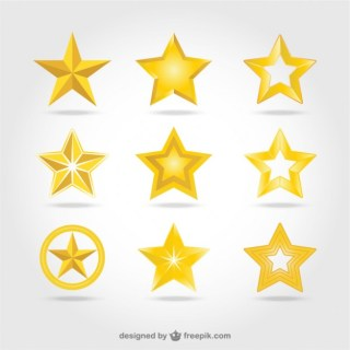 Golden Stars Icons Free Vector