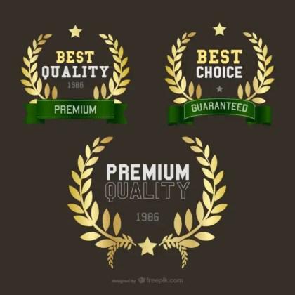 Golden Wheat Crown Logos Free Vector