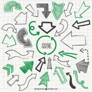 Green and Black Sketchy Arrows Free Vector