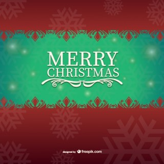 Green and Red Christmas Card Free Vector