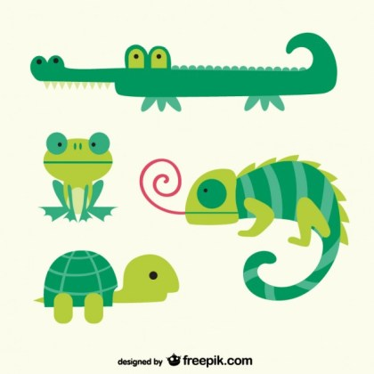 Green Animals Cartoons Free Vector