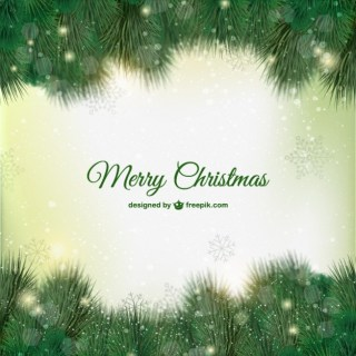 Green Christmas Card Free Vector