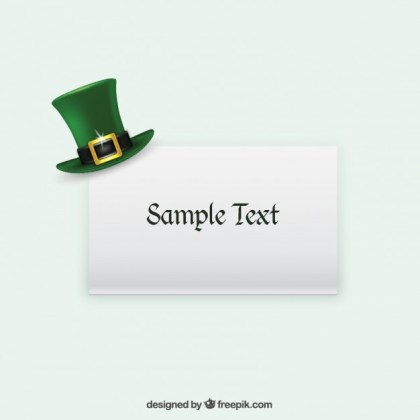 Green Hat on a Card Free Vector
