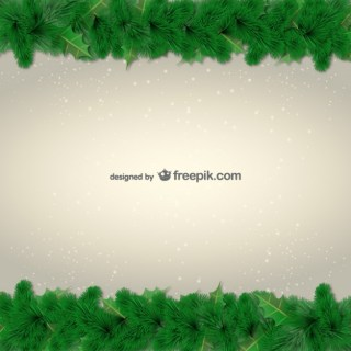 Green Leaves Borders for Christmas Free Vector