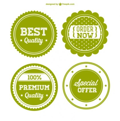 Green Premium Sale Badges Free Vector