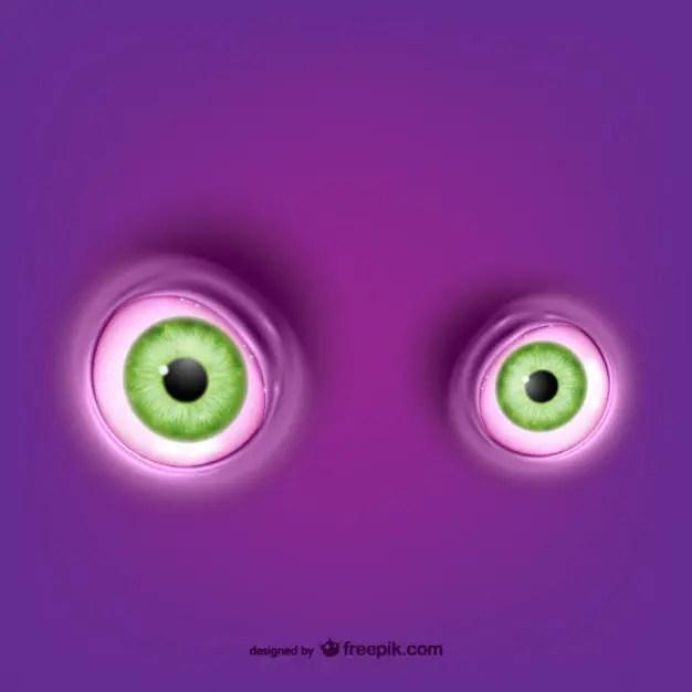 Green Round Eyes Free Vector