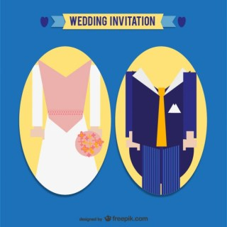 Groom Silhouettes Wedding Card Invitation Free Vector