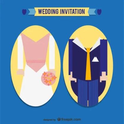 Groom Silhouettes Wedding Card Invitation Free Vector