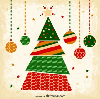 Grunge Christmas Card with Tree Free Vector