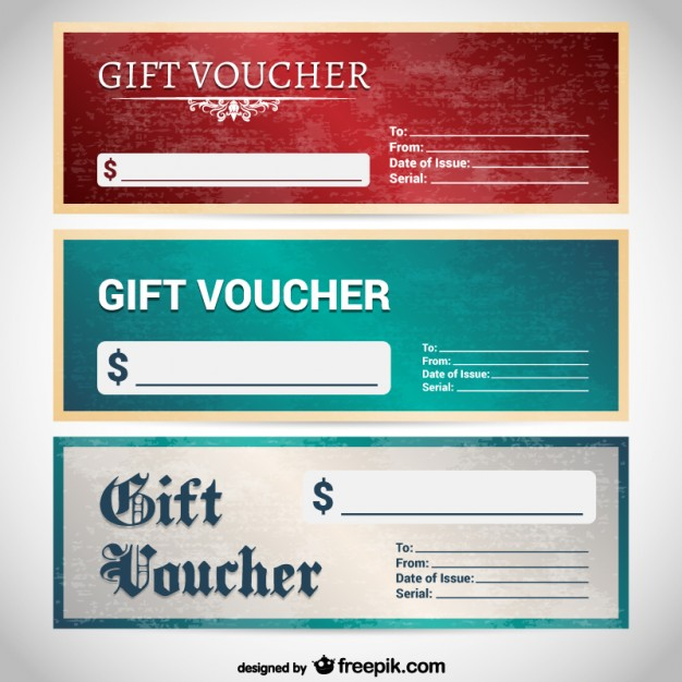 Grunge Gift Voucher Templates Free Vector