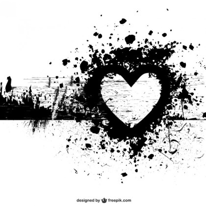 Grunge Heart Shape Background Free Vector