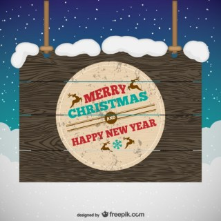 Grunge Wooden Christmas Sign Free Vector