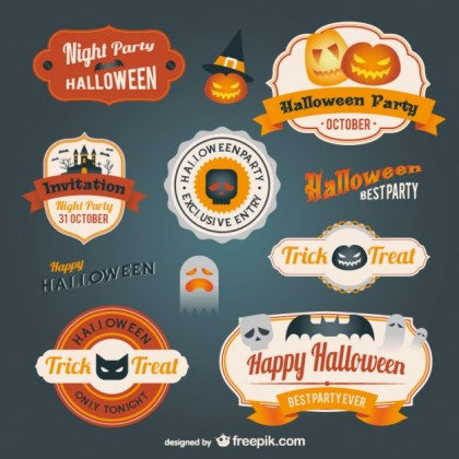 Halloween Badges Pack Free Vector
